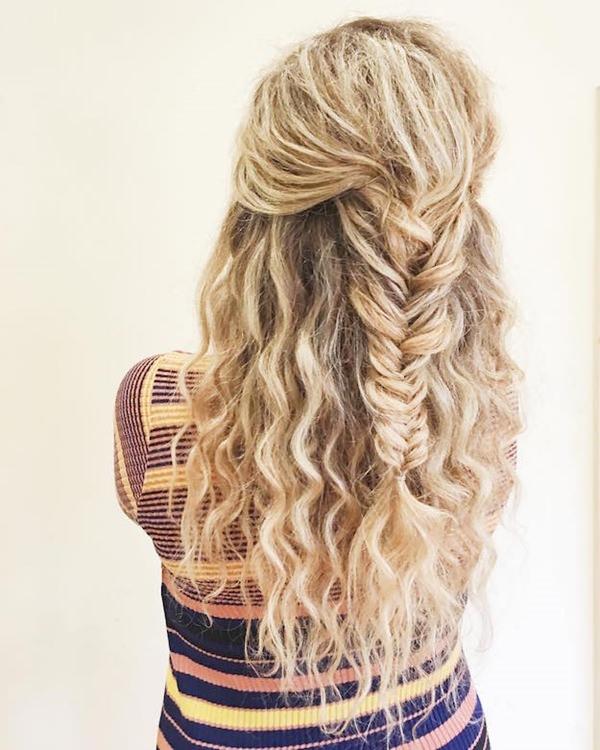 half braid wavy curles