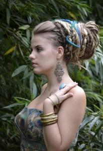 dreadlocks-hairstyle-for-women-Elegant dread lock bun up do