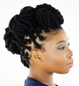 dreadlocks-hairstyle-for-women-Fleur De Lis Dreadlock Bun