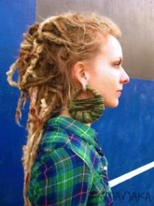 dreadlocks-hairstyle-for-women-Half and half dread lock buns