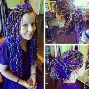 dreadlocks-hairstyle-for-women-Peek-A-Boo Green Locks
