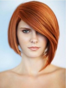 short-hairstyle-for-thick-hair-Lob with asymmetric arched bangs