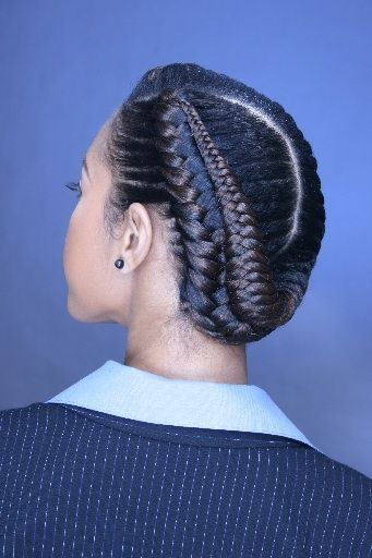 African American up-do hairstyles Fishtail up-do