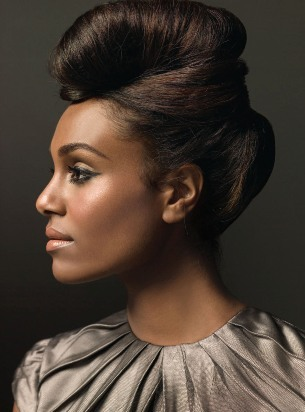 African American up-do hairstyles Puffed up-do