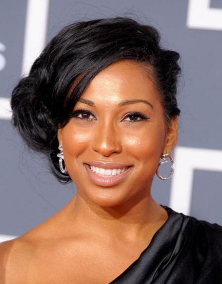 African American up-do hairstyles Side parted up-do