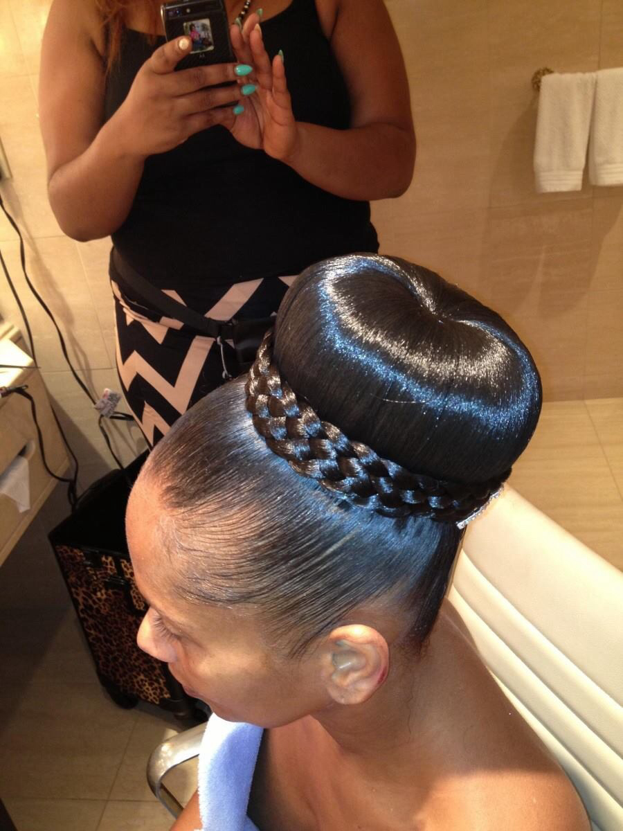 African American up-do hairstyles Up-do rolled up bun