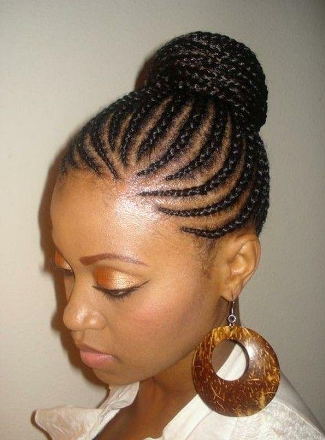 Black braided hairstyles Braided bun