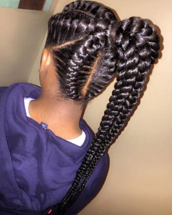 Black braided hairstyles Braided ponytail