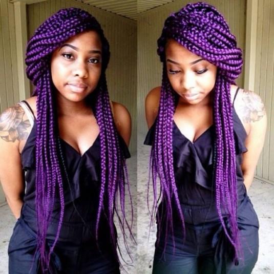 Black braided hairstyles Purple braid