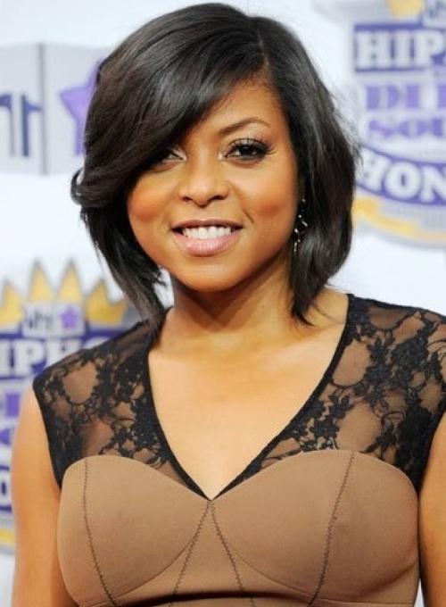 Bob Hairstyles for Black Women Side swept cute wavy bob cut