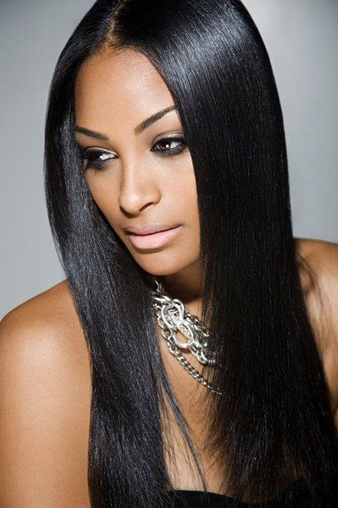 Natural Hairstyles for African, American Women Natural middle length straight