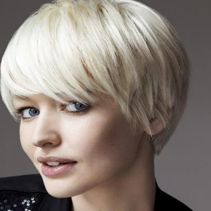 Short Hairstyles for women Long fringe on short cropped hair